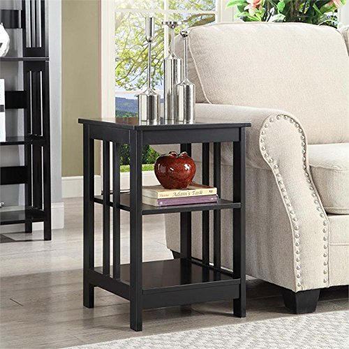 Glass Mission End Table (Convenience Concepts Mission End Table , Black)