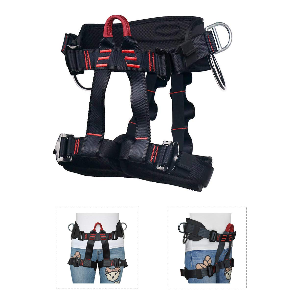 HeeJo Thicken Climbing Harness, Protect Waist Safety Harness, Wider Half Body Harness for Rock Climbing Tree Climbing Fire Rescue Expanding Training Rappelling Mountaineering by HeeJo