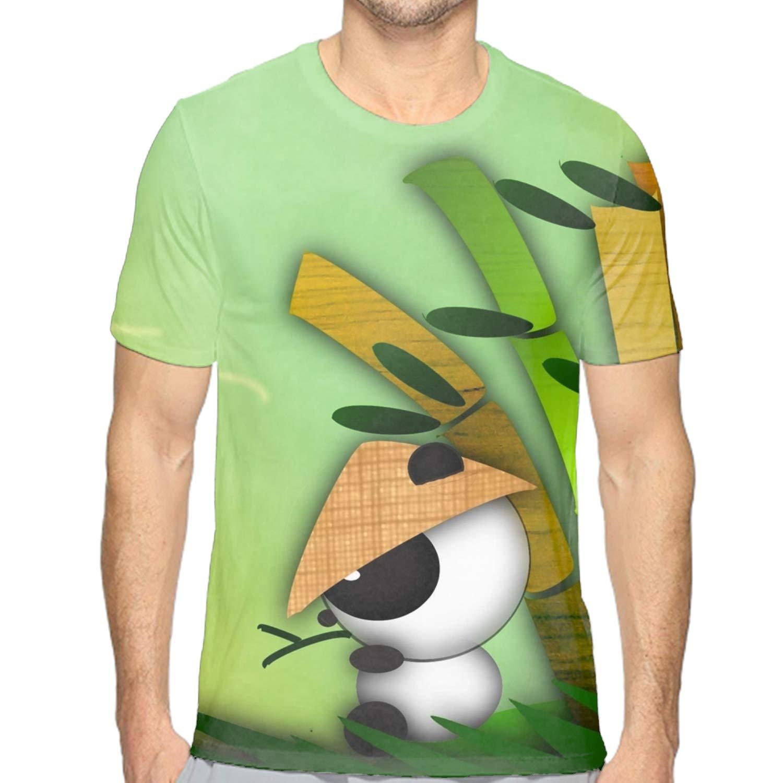Panda at Play TRSL Mens Casual Short Sleeve Graphic Tee Shirts