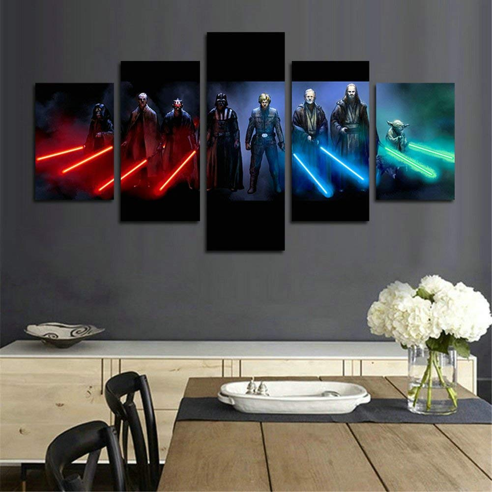 Tyups 5 piece canvas painting hd stormtrooper star wars movie wall poster for living room home decor canvas art