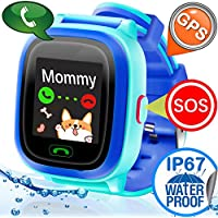 Waterproof IP67 Kids Smart Watch GPS Tracker for Girls Boys Children Phone Watch SIM Slot SOS Anti-lost Bracelet Smartwatch Kid Fitness Game Watch Swim Sport Summer Outdoor for iOS Android