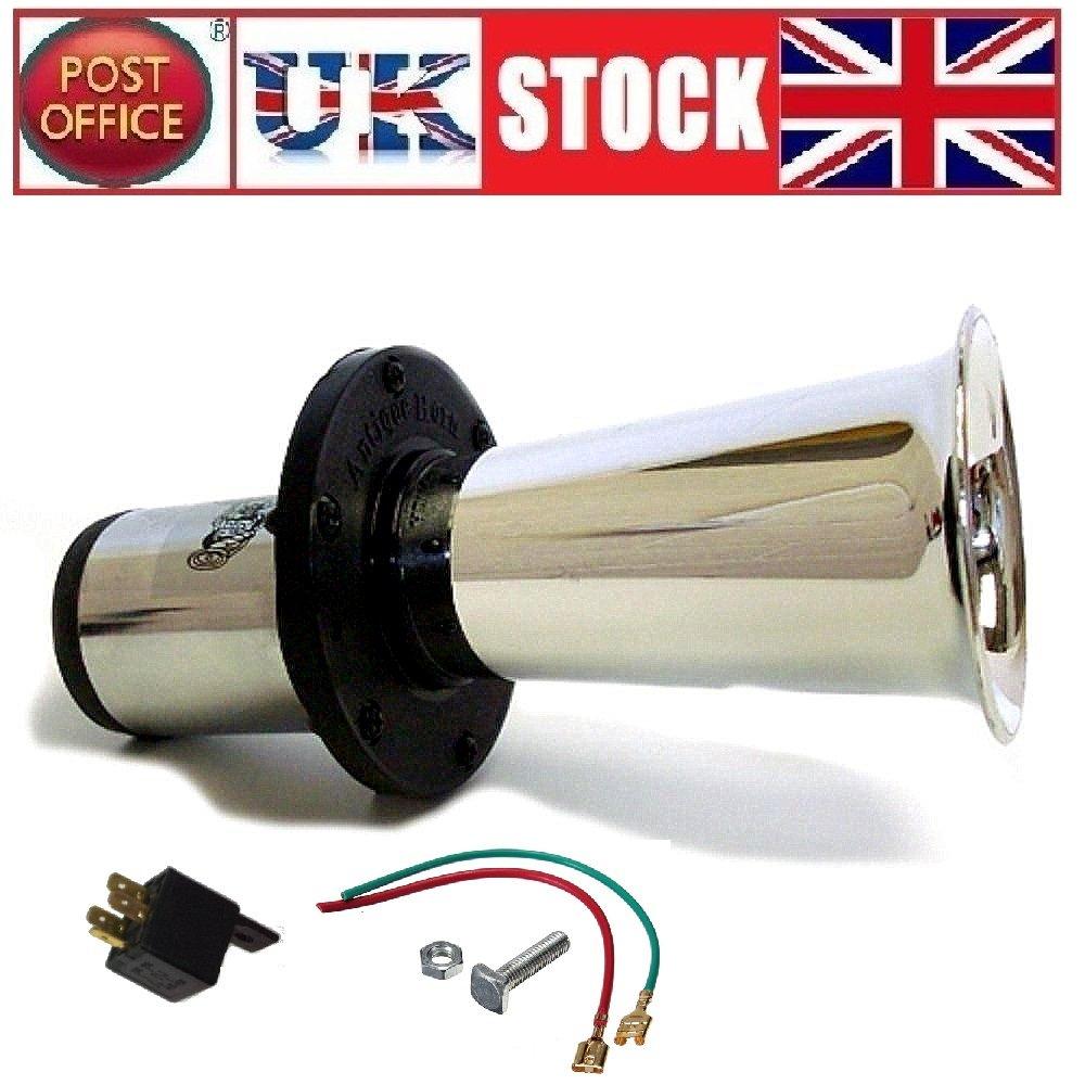 12V Car Horn MarkUK/® Universal Klaxon Classik Retro Vintage Soung Fog Horn Big Trumpet Loud 110db