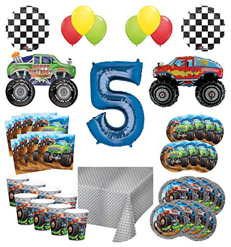 Mayflower Products Monster Truck Rally 5th Birthday Party Supplies 8 Guest Decoration Kit with Green and Red Monster Truck Balloon Bouquet -