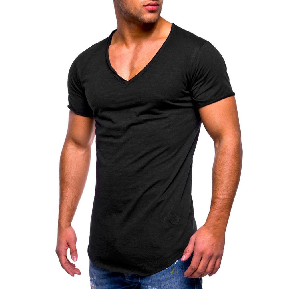 Limsea Men Tee Slim Fit V Neck Short Sleeve Muscle Cotton Casual Tops Blouse Shirts