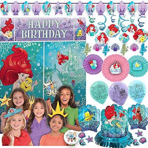 Princess Ariel The Little Mermaid Mega Party Decoration Pack With Scene Setter and Photo Props, Hanging Swirls, Table Decorating Kit, Balloons, Mermaid Shell Banner, Birthday Banner, and Exclusive -
