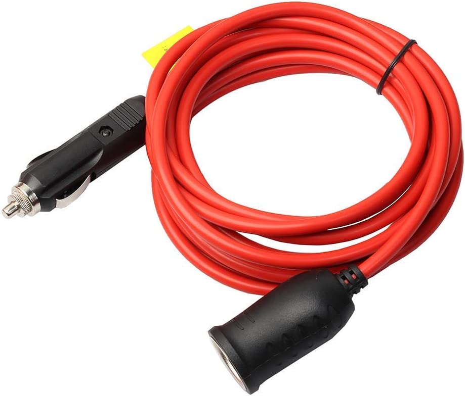 YGL 12V / 24V 3.6m Cable alargador para Encendedor de Cigarrillo de Coche, [15A 250V] macho a hembra Mechero Conector Enchufe para 220V Convertidor Transformador