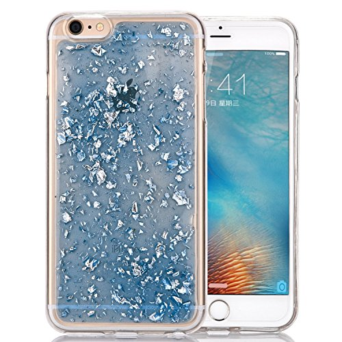 (iPhone 7 Plus Case, Berry Accessory (TM) Luxury Bling Glitter Faceplate Blue Leaf Design Flexible Soft TPU Protective Case Slim Fit for Iphone 7 Plus Inch + Berry logo stand holder (Bling Blue))