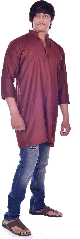 Lakkar Haveli Mens Indian Kurta Loose Fit Marron Solid Color Shirt Tunic 100/% Cotton Plus Size