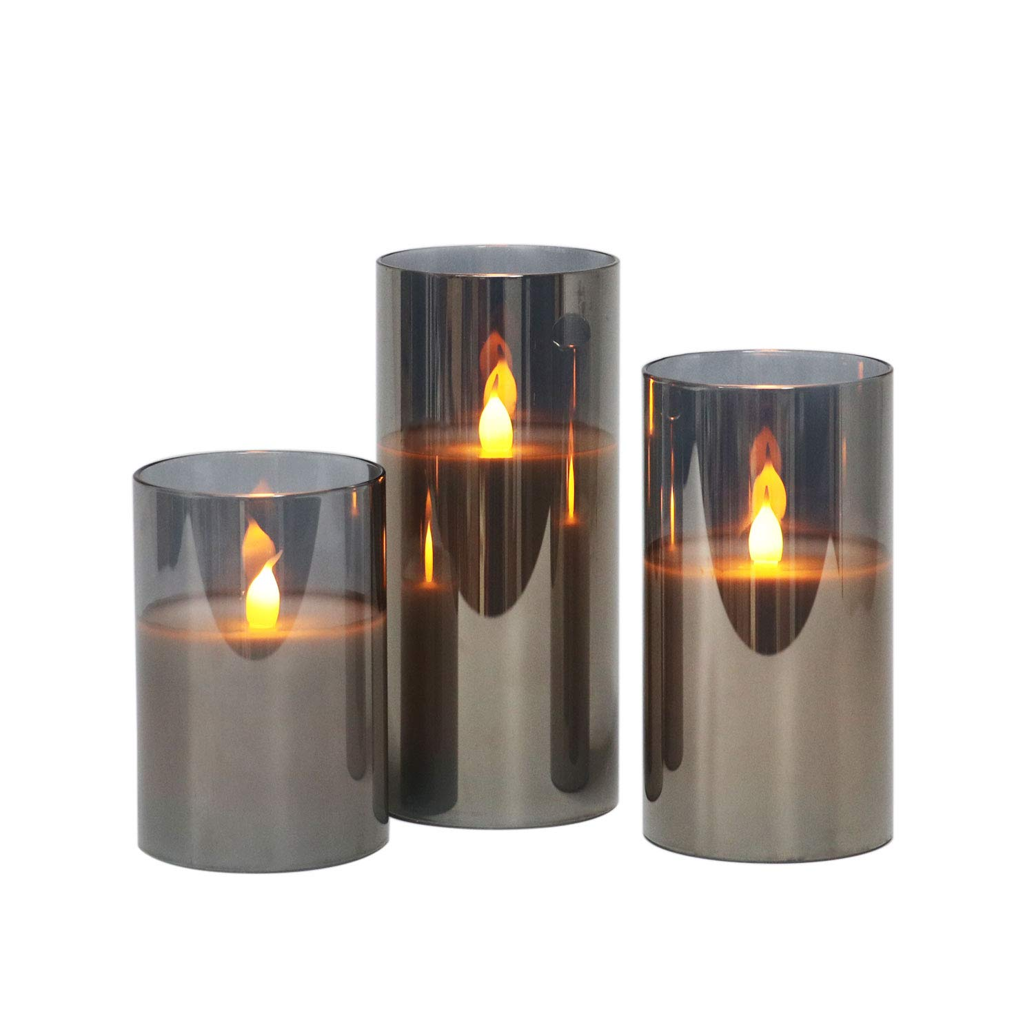 Gray Glass Battery Operated Flameless Led Candles with Timer, Warm White Flickering Light, Batteries Included - Set of 3