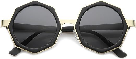 Womens Keyhole Sunglasses Thick Half Rim Round High Fashion Eyewear 5 Colors