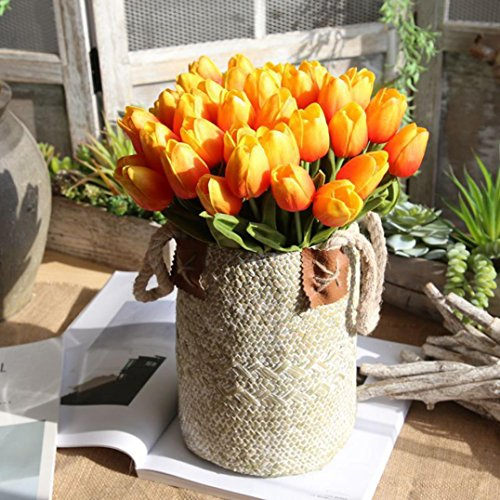 Ins Hot Sale ! Auwer 5PC PU Fake Tulip Artificial Flower Real Touch for Wedding Room Home Hotel Party Decoration and DIY Welcome Door Wreath Decor (orange)
