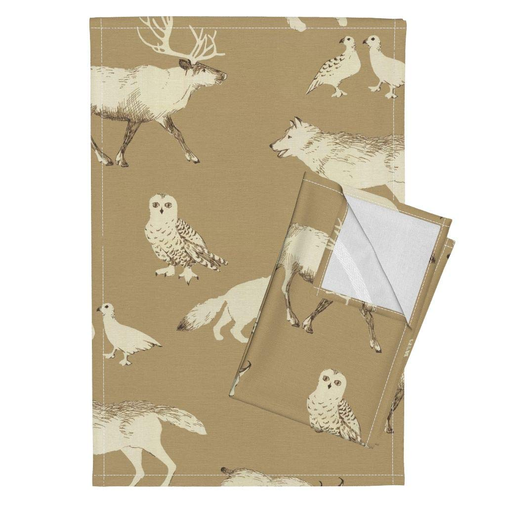 Caribou White Wolf Arctic Fox Snowy Owl Lynx Winter Animals Woodland Animals Tea Towels Winter Animals (Tan) by Kate Rowley Set of 2 Linen Cotton Tea Towels