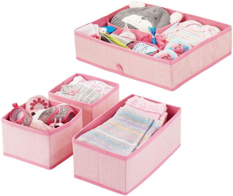 mDesign Juego de 4 cajas organizadoras en polipropileno para habitaciones infantiles – Cestas de tela para accesorios de bebé – Organizadores para armarios de niños o para cajones – rosa