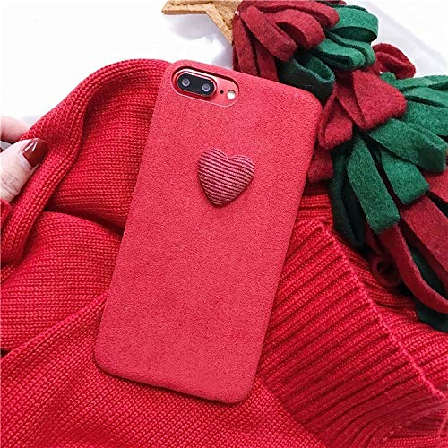 Twinlight Winter Warm Red Love Heart Phone Case Fabric Plush Case for iPhone X 8 7 7plus Soft TPU Back Cover for Gift (red, for iPhone X XS)