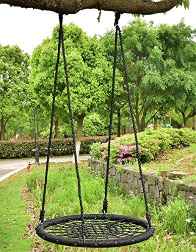 K & A会社ツリーラウンドスイングNetアウトドアHangingロープSpider WebキッドPlayおもちゃブラックUS Kids Garden子供幼児用31.5