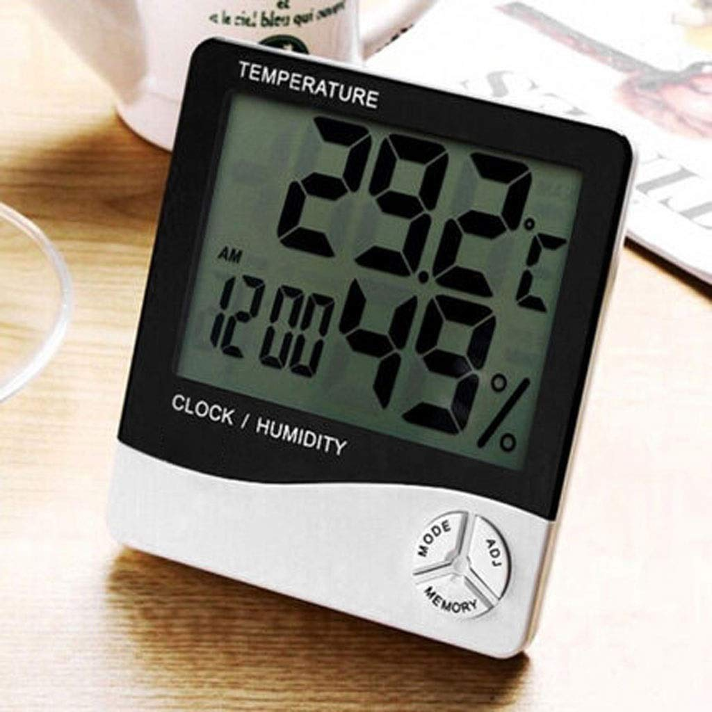 MSNDD Digital LCD Thermometer Hygrometer Electronic Temperature Humidity Meter Home Weather Station Indoor Outdoor Tester Clock Gift