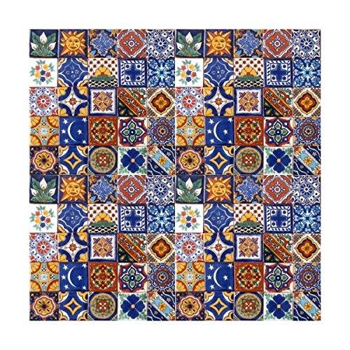 100 Hand Painted Talavera Mexican Tiles 2''x2'' Spanish Mediterranean decor by Casa Daya Tile