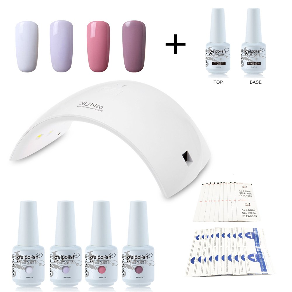 Vishine Nail Starter Kit 4 Colours Soak Off Gel Polish & Top Base Coat, 36W Professional LED Gel Lamp, Remover & Cleanser Manicure Nail Art Tool #C007
