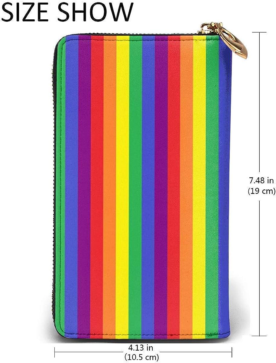 Rainbow Pride Stripes Gay Wallets For Men Women Long Leather Checkbook Card Holder Purse Zipper Buckle Elegant Clutch Ladies Coin Purse