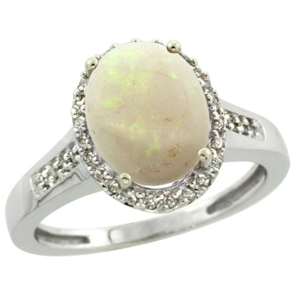 Sterling Silver Diamond Natural Opal Ring Oval 10x8mm, 1/2 inch wide, size 7