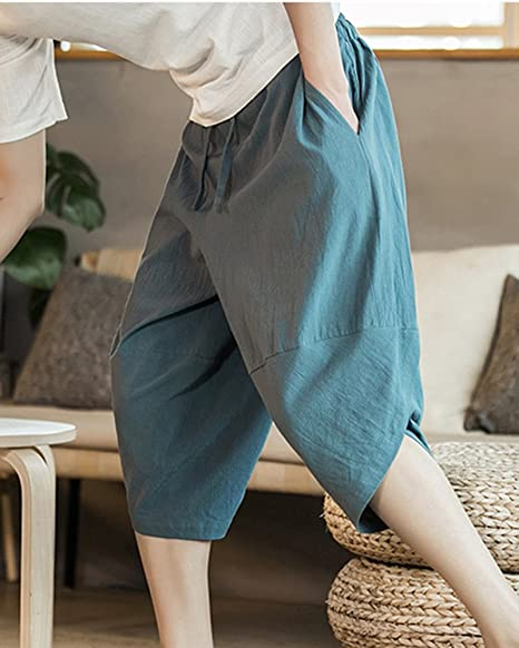 a8089046f85 LaoZanA Mens Chinos Cropped Trousers Vintage Baggy Hippie Elasticated Waist  Lightweight Harem Pants Plus Size  Amazon.co.uk  Clothing