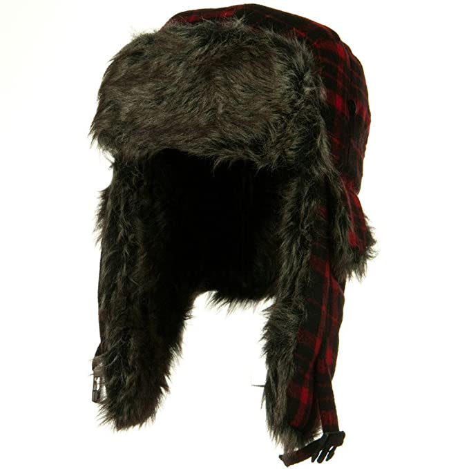 ee35b695f58 Red Buffalo Plaid Faux Fur Bomber Trapper Hat  Amazon.ca  Clothing    Accessories