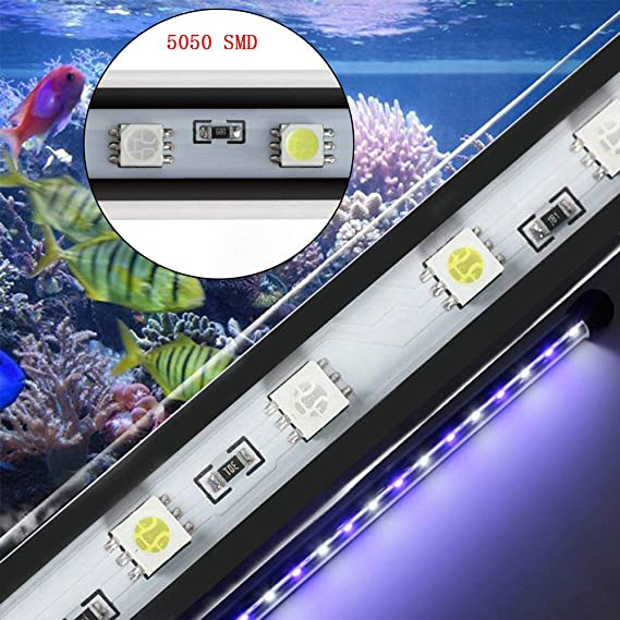 DOCEAN 78cm Luz LED Acuario, Pantalla LED Acuario, 5050SMD 45LEDs Iluminacion LED para Acuarios Plantados Lampara LED, luz blanca & Luz azul, para Peceras: ...