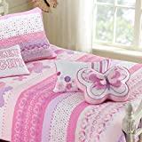 100% Cotton Lightweight but Warm Pink Butterfly Stripe Hearts Girls Bedding Quilt Set Full/Queen by Cozy Line Home Fashions