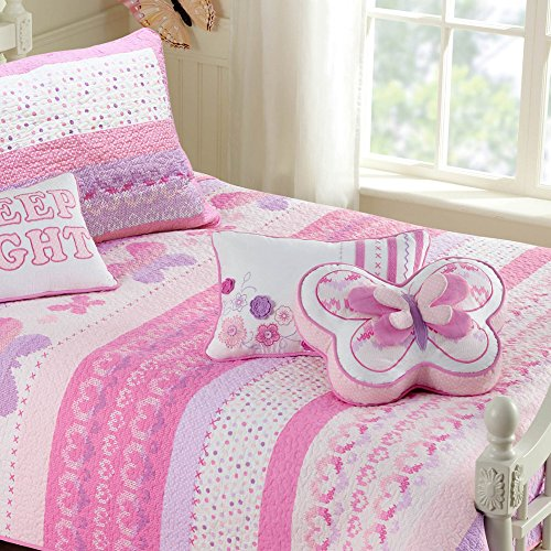100% Cotton Lightweight but Warm Pink Butterfly Stripe Hearts Girls Bedding Quilt Set Twin by Cozy Line Home (Princess Twin Quilt)