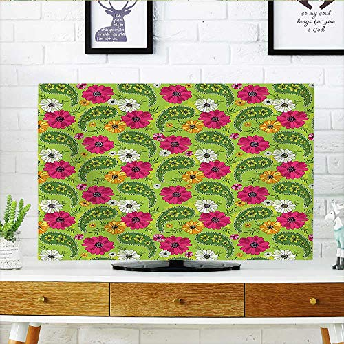 Cover Bright Floral Pattern with Vivid Paisley Print Old Vintage Boho Style Decor Pistachio TV dust Cover W25 x H45 INCH/TV 47