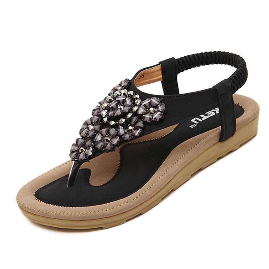 Start Women Summer Beaded Flower Flats Herringbone Sandals Beach Shoes (US=7, Black)