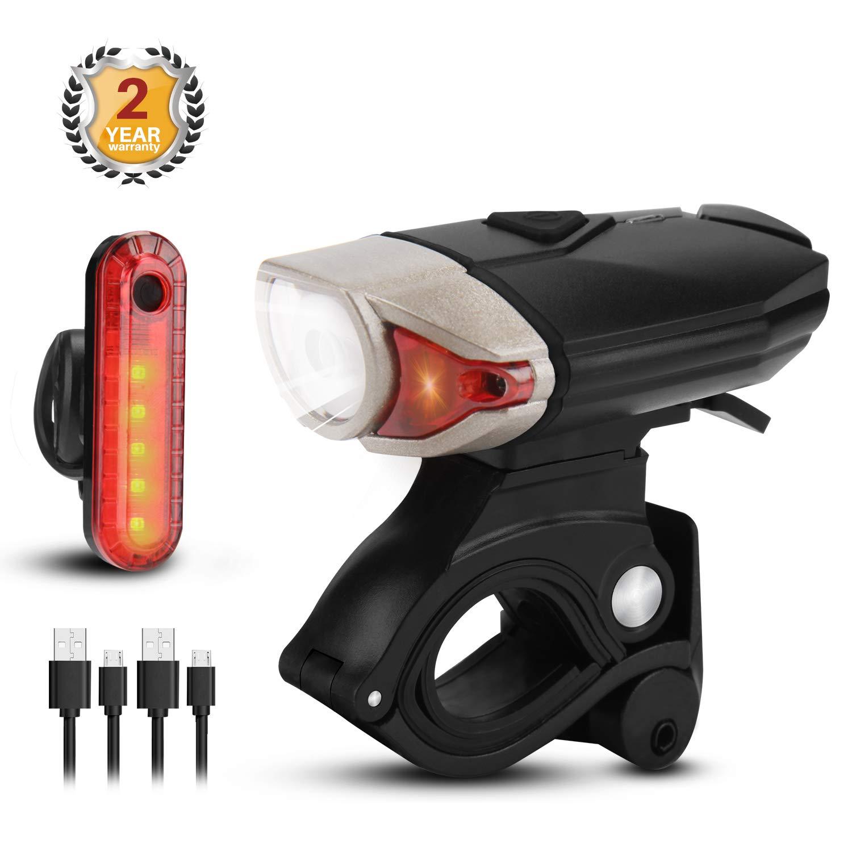 bedee LED Bike lights Set USB Rechargeable Super Bright 300 Lumens Bicycle Lights Bike Front Light + Rear Bike Light Reflectors IPX 5 Waterproof 3 Modes Mountain Bike/Road Bike Light for Night Riding