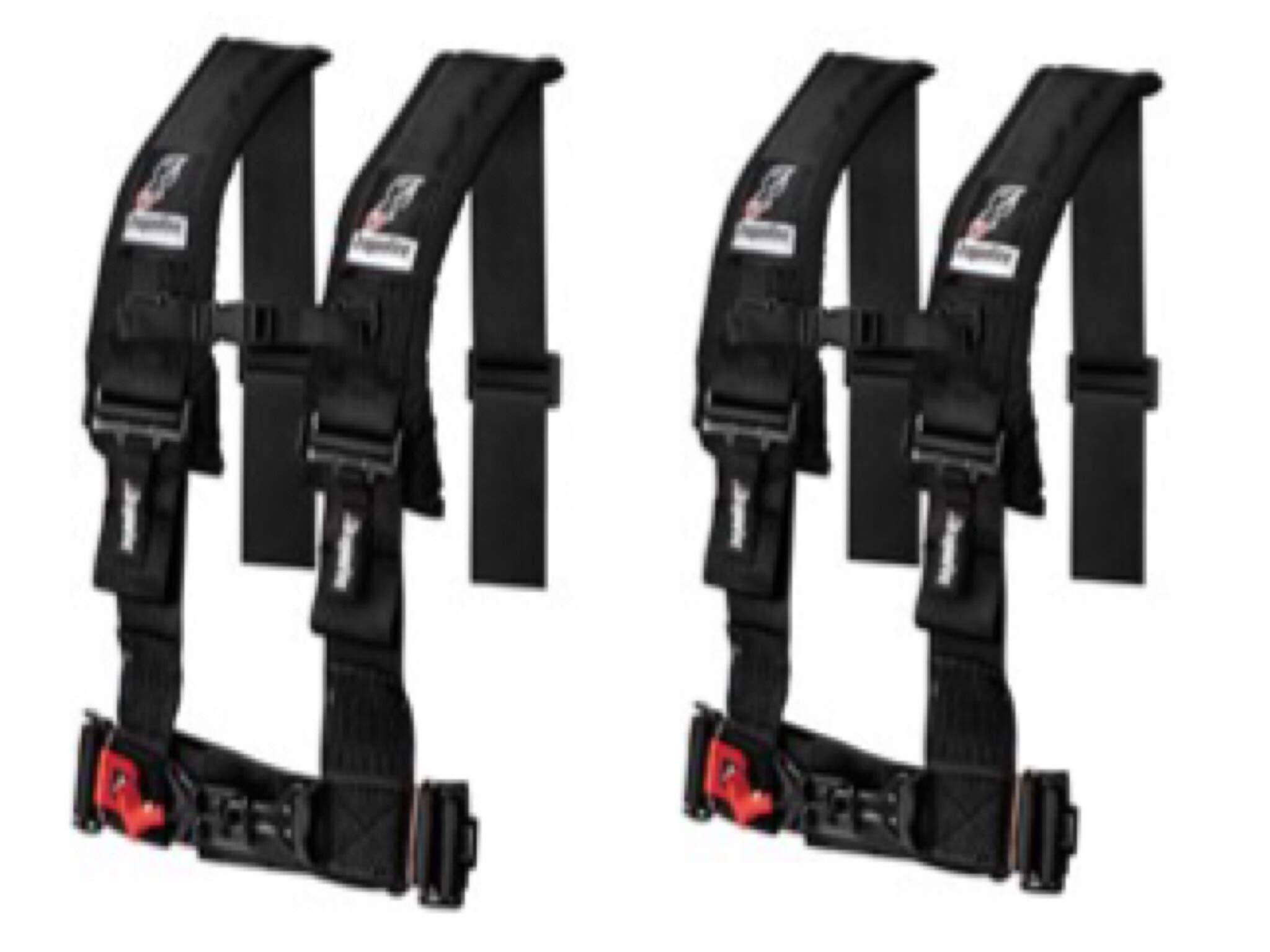 Set of 2 Dragonfire Racing 4-Point 3'' H-Style Harness With Sternum Clip (3'') (Black)