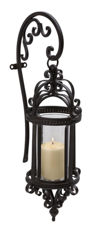 25'' Elegant Victorian-Inspired Black Wall Mounted Candle Lantern