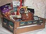 Deer Hunters Wood Crate Mens Gift Basket Coffee Mug Cookies Candy Nuts Cards Jerky