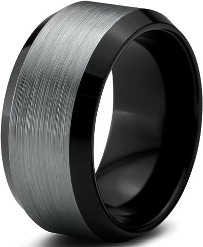 10mm Black Tungsten Carbide Wedding Band Shiny Edges Men /& Women Comfort Ring