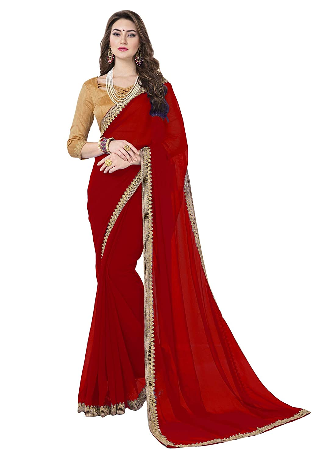 Glory Sarees Women's Chiffon Saree(classic101red_red)
