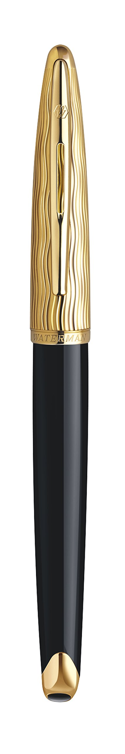 Waterman Carène Essential Rollerball Pen, Gloss Black Wave with 23k Gold Clip, Fine Point with Black Ink Cartridge, Gift Box by Waterman (Image #3)