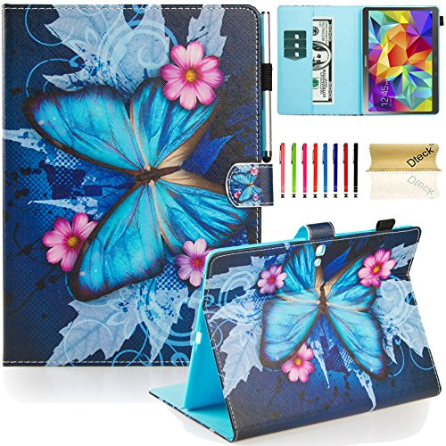 Galaxy Tab S 10.5 Case, Dteck(TM) Slim Fit Colorful Cute PU Leather Flip Stand Case with Auto Sleep/Wake Function Wallet Cover Smartshell for Samsung Galaxy Tab S 10.5 inch SM-T800, Blue Butterfly