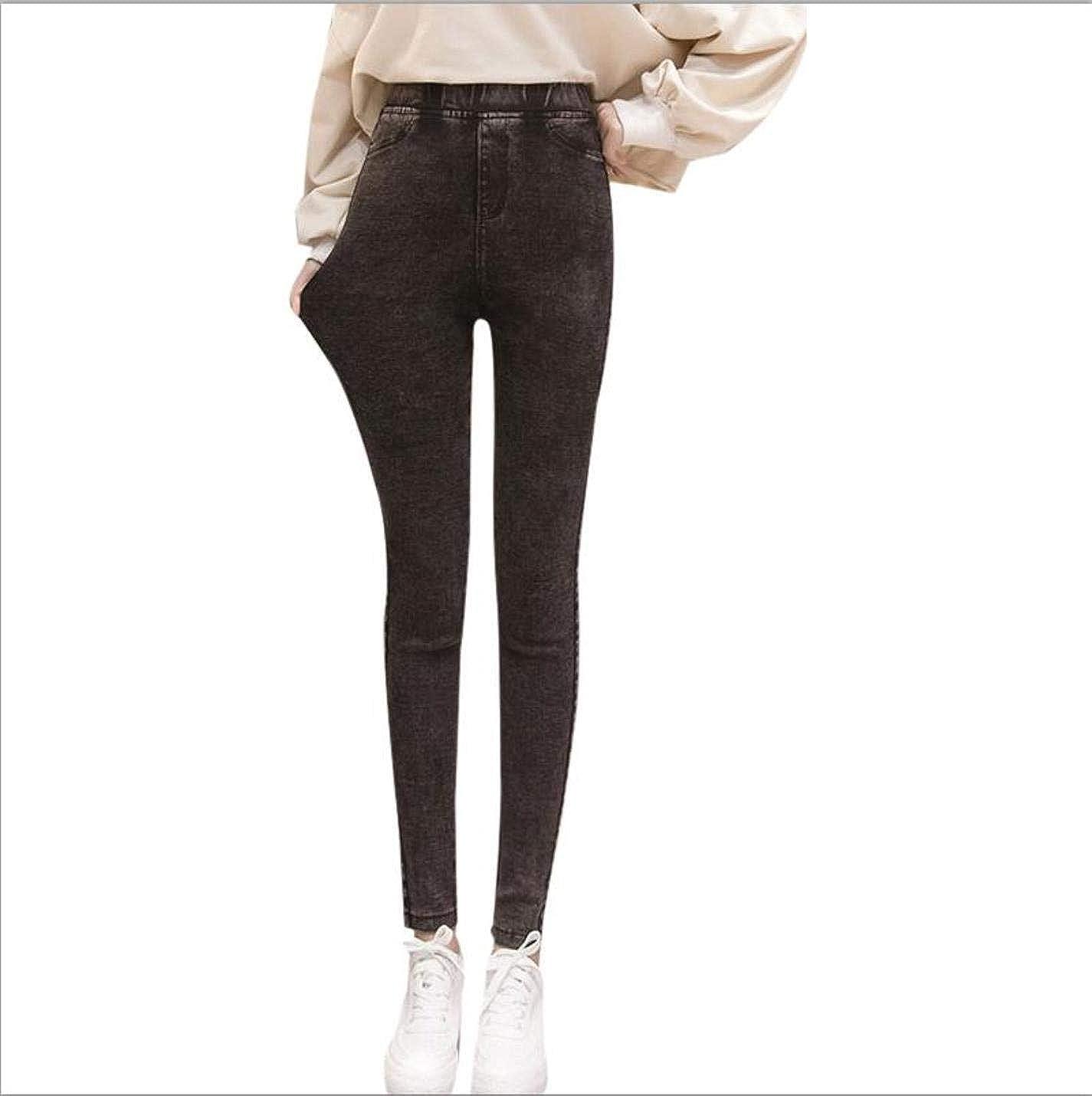 BxjkaEWA Womens Tight-Fitting high-Elastic Waist Basic Jeans Slim Pencil Pants