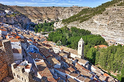 (Home Comforts Peel-n-Stick Poster of Mountain Alcala Del Jucar Valley Village Hillside Poster 24x16 Adhesive Sticker Poster Print)