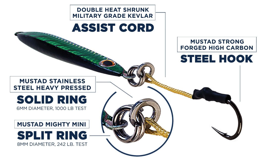 Surface Cast Crankbait Jerkbait Irons Jigs w/ MUSTAD CARBON STEEL HOOKS & RINGS | The ''Ninja'' Comes in 6 Colors & 4 Weights