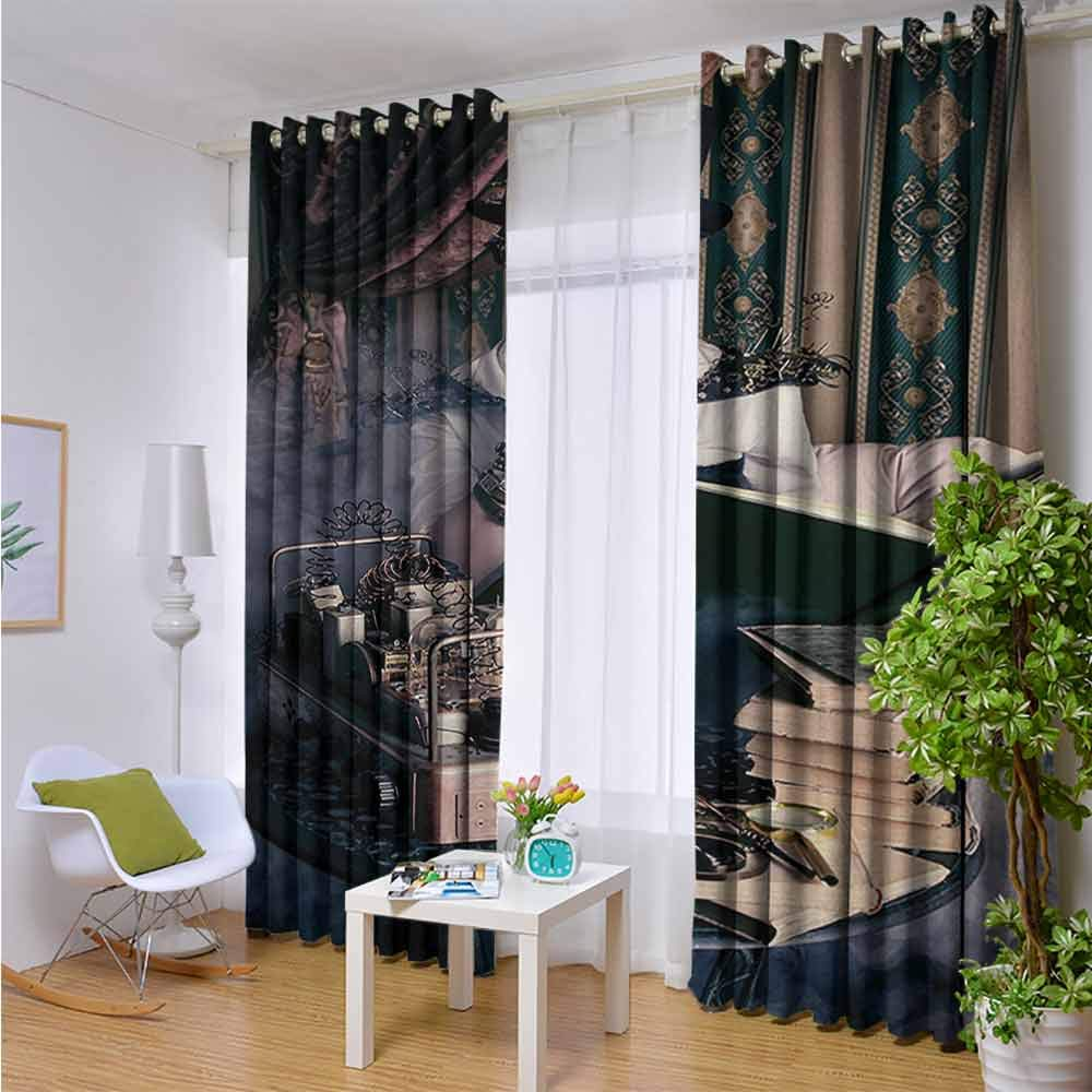 Andrea Sam Outdoor Blackout Curtains Gothic,Portrait of Steampunk Woman with Medieval Vintage Outfit Historic Fashion Art Photo,Brown Teal,W84 xL96 Outdoor Curtain Waterproof Rustproof Grommet Drape by Andrea Sam