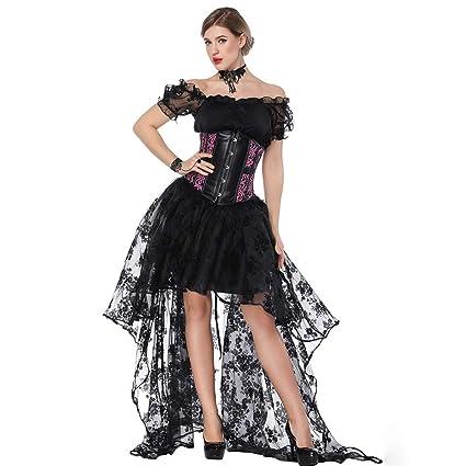 BERTHACC Mujeres Deshuesado Corsé Gótico Halloween Vestido ...