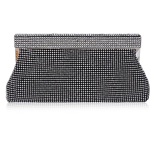 Damara Women Rhinestones Studded Flap Crossbody Evening Bag,Black (Evening Pouch Bag Metallic)
