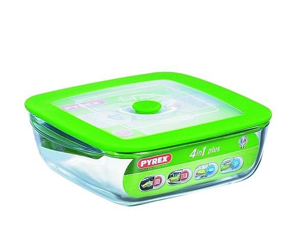 Pyrex Cook & Store - Recipiente 4 in 1 plus cuadrado con tapa, 2,2 litros: Amazon.es: Hogar