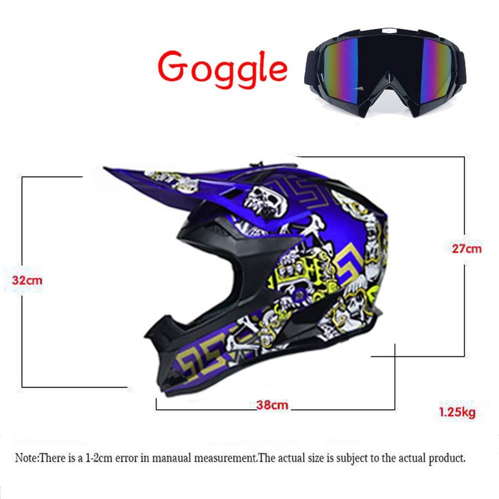 Stile Cranio Blu Casco Cross da Moto con Occhiali Protettivi Casco da Motociclista off-Road Enduro Downhill Racing ATV MTB BMX Fullface Casco da Motocicletta LEENY Casco da Motocross