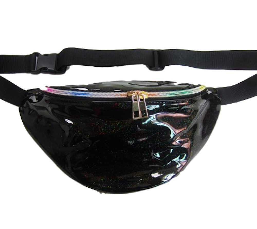 Moon Market Unisex Outdoor Festival Hologram Metalic Travel Pouch Waist Chest Cross Bag (Black Glitter)
