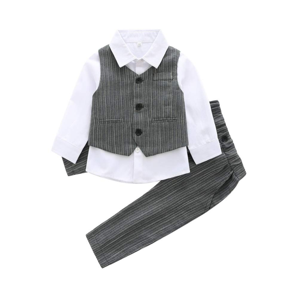 Hongyuangl Baby Boys Long Sleeve Shirt + Vest + Trousers 3 Pieces Gentleman Spring and Autumn Outfits