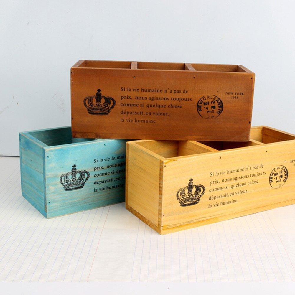 Cosanter Pen Carriage Treillis en Bois 3 Pot /à stylos et Crayons Rectangulaire Carr/é en Forme de Support Bureau Plumier Coffee